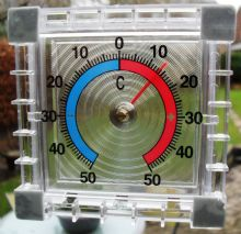 CLEAR PLASTIC SQUARE THERMOMETER INDOOR OUTDOOR HOME GARDEN